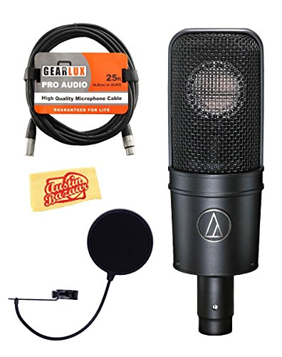 Audio-Technica AT4040 Cardioid Condenser Microphone Bundle with Pop Filter, XLR Cable, Polishing Cloth