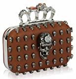 Womens Brown Skulls Knuckles Rings Clutch Evening Bag KCMODE, Bags Central