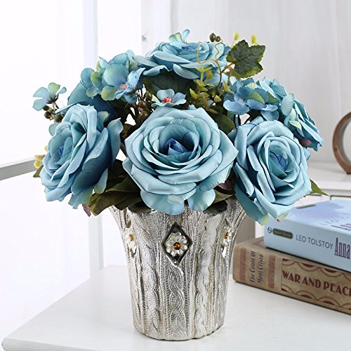 (Emulation flower floral packaged flowers silk flower roses harness the living room dining table set is decorated with floral plastic flowers,)