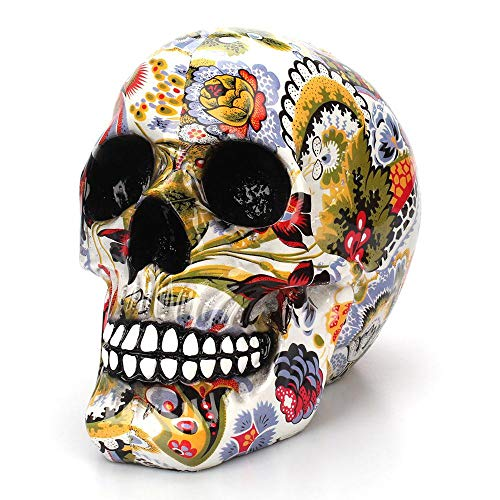 DN SUPPLY Creative Colorful Pattern Skull Ornaments Resin Halloween Horror Modern Skull Statue Personality Home Decoration 301-0728 -