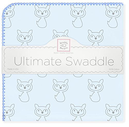 SwaddleDesigns Ultimate Swaddle Blanket, Made in USA Premium Cotton Flannel, Gray Fox with Blue Trim (Blanket Ultimate Trim Receiving)