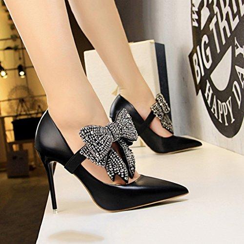 größe Farbe Staaten und Schwarz Vereinigten long220mm Stöckelschuhe 34 spitzen ALUK die Schuhe sexy Europa Bogen Damenschuhe mit Shoes 6xCqS
