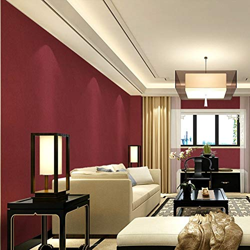 GONGFF Plain Solid Color Wine red Wallpaper, Red Waterproof PVC Wallpaper-Red Wine 1000x53cm(394x21inch)