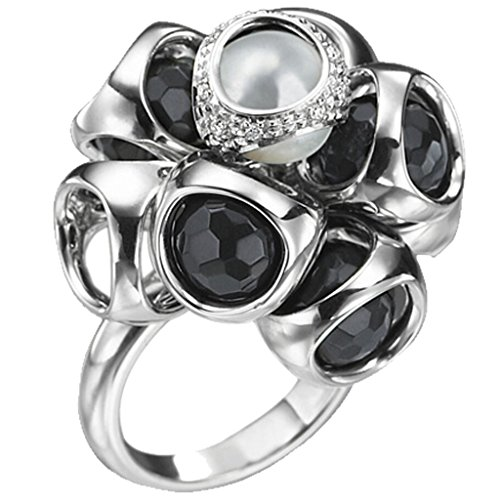 Di MODOLO Icona Onyx & Pearl Diamond Cluster Ring in Sterling Silver