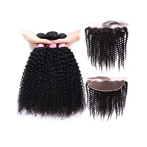 Welcome the good future Brazilian Kinky Curly Bundles With Frontal Closure 13x4 Lace Frontal With Bundles Remy Human Hair Bundles With Closure,16 16 18 & Closure14,Three Part