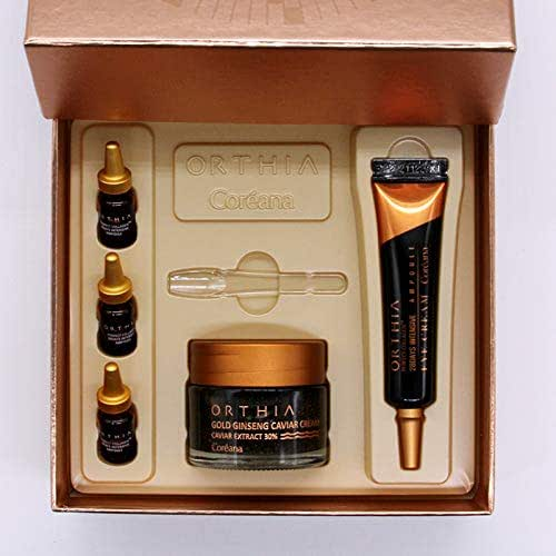 Coreana ORTHIA Daily Special Set, Including Gold Ginseng Caviar Cream, Perfect Collagen 28 Days Intensive Eye Cream And Ampoule Essence, Lifting Tightening And Nourishing Gift Set