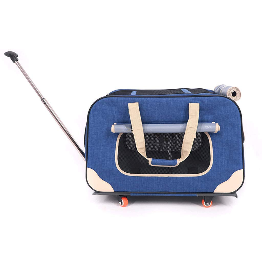 bluee Four-Wheeled Pet Trolley Case, Convenient Folding and Detachable Pet Stroller, Medium and Small Dog Out Travel, Suitable for Cats and Dogs (color   bluee)