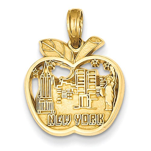 Pendants Travel and Transportation Charms 14K Yellow Gold New York City Skyline in Apple Charm Pendant