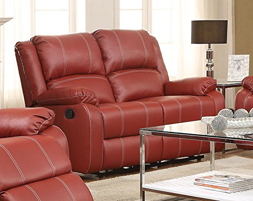ACME Zuriel Red Faux Leather Reclining - Leather Set Sofa Loft