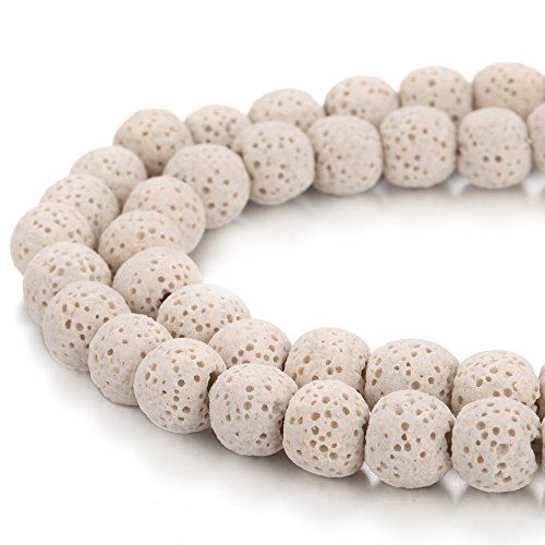 BORUO Natural 8mm Beige Color Lava Rock Stone Semi Precious Gemstone Round Loose Beads Energy Stone Healing Power for Jewelry Making (Approxi 48pcs per Strand)