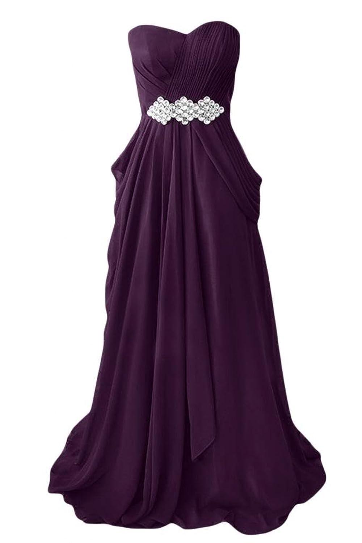 Sunvary Strapless Draped Ruffle Side Zipper Rhinestone Bridesmaid Prom Gowns-24W-Pink