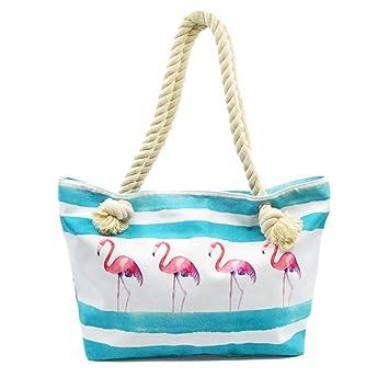 Bwiv Bolso de Playa Bolsa de Playa Grandes con Cremallera de Lienzo con Cuerda de Cáñamo Impermeable Gran Capacidad Bolsa Totes para Mujer