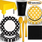 Disposable Tableware, 40 Sets - Midnight Black and Sunflower Yellow Dots - Dinner Plates, Dessert Plates, Cups, Lunch Napkins, Cutlery, and Tablecloths: Premium Quality Party Supplies Set