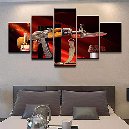 SFXYJ 5 Piece Canvas Print - Weapons AK-47 Model Wall Art - Modular Wallpapers Home Picture Poster Painting Decorative - Living Room/Bedroom,A,20×35×2+20×45x2+20x55×1 (Best Modern Ak 47)