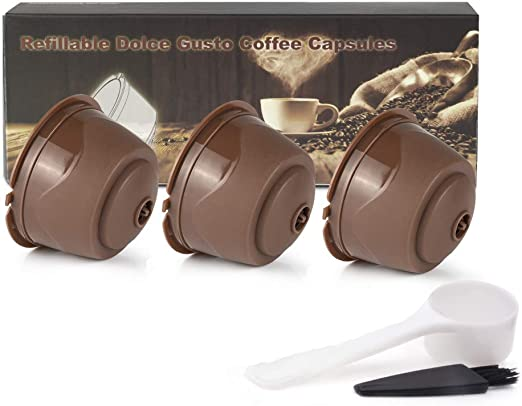 Dolce Gusto cápsulas de café reutilizables recargables con función de espuma, filtro de café reutilizable de última generación, 3 unidades por paquete con 1 cepillo de limpieza y 1 cuchara de plástico: