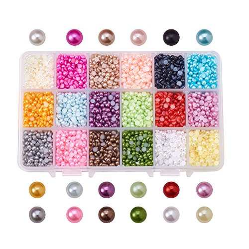 PandaHall Elite 1 Box ABS Acrylic Half Round Flat Back Imitation Pearl Cabochon Diameter 4mm 18 Colors Jewelry Craft Making