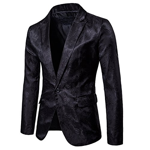 Cloudstyle Mens Slim Fit Paisley Suit Party Suit Jacket One Button Jacquard Sport Coat