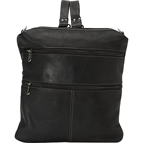 Piel Leather Convertible Multi-Pocket Shoulder Bag Backpack, Black, One Size by Piel Leather