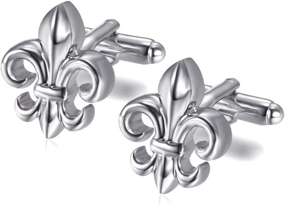 Paire Boutons de Manchette Fleur de Lys Argent/é Symbole Patriote Royaliste BOBIJOO Jewelry