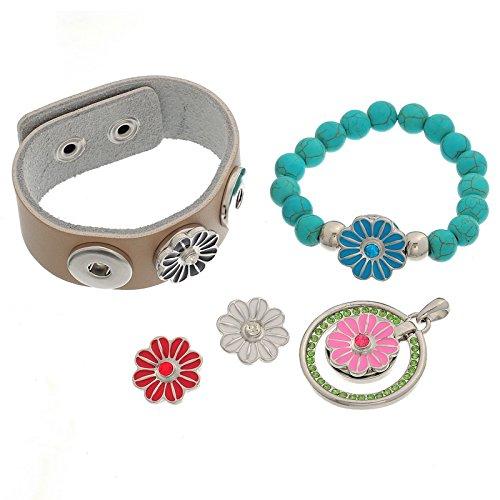Godagoda Mixte Forme de Fleur Bouton a Pression pour Bracelet Breloque avec Strass Email Lot de 5pcs