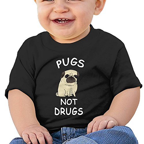 NYCOPI MICJP Little Boys Girls Pugs Not Drugs Clothes Summer Short-Sleeve Cotton Casual Tee 24 Months