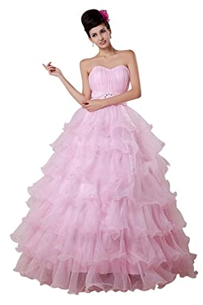 GEORGE BRIDE Pink Strapless Tiered Organza Prom Dress, Pink, 48