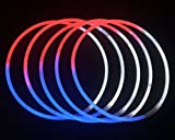 """Glow Sticks Bulk Wholesale Necklaces, 100 22"""" Red-White-Blue Glow Stick Necklaces+100 FREE Assorted Glow Bracelets! Bright Colors, Glow 8-12 Hrs, Connector Pre-attached, Sturdy Packaging"""