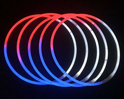 "Glow Sticks Bulk Wholesale Necklaces, 100 22"" Red-White-Blue Glow Stick Necklaces+100 FREE Assorted Glow Bracelets! Bright Colors, Glow 8-12 Hrs, Connector Pre-attached, Sturdy Packaging by Glow With Us"