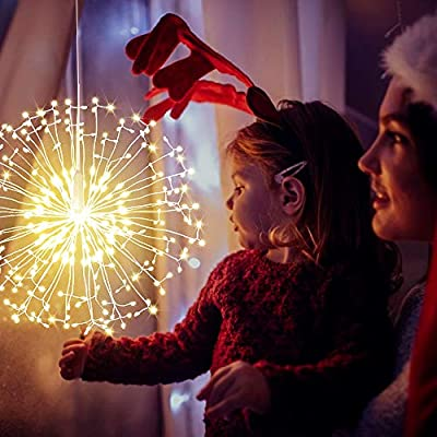 LetsFunny Firework Lights LED String Lights, 8 Modes Dimmable Fairy Lights with Remote Control, Hanging Twinkle Starburst Lights Waterproof for Parties Home Outdoor Decoration