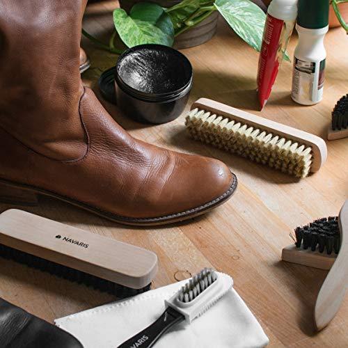 Navaris Set brosses à chaussures - Kit 8 outils d'entretien - 6x brosse 1x gomme 1x tissu de polissage - Nettoyage cuir… 5