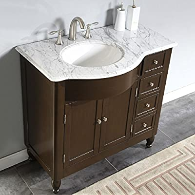 Silkroad Exclusive White Marble Top Left Sink Bathroom Vanity with Furniture Cabinet, 38-Inch