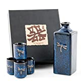 Authentic Imported Japanese Blue Dragonfly Tombo Pottery Sake Set with 14 fl oz Tokkuri Bottle and Four 1 fl oz Ochoko Cups Gift Set Made in Japan