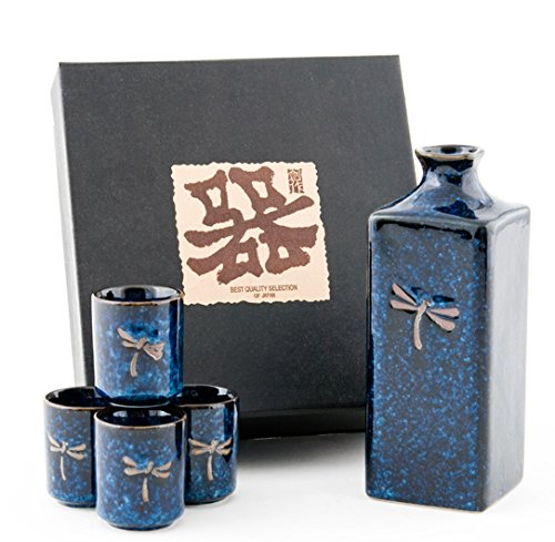 Authentic Imported Japanese Blue Dragonfly Tombo Pottery Sake Set with 14 fl oz Tokkuri Bottle and Four 1 fl oz Ochoko Cups Gift Set Made In Japan by Hinomaru Collection