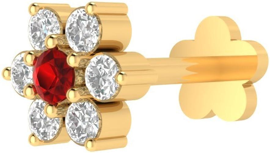 2mm Garnet 14K Yellow Gold Prong Set Labret