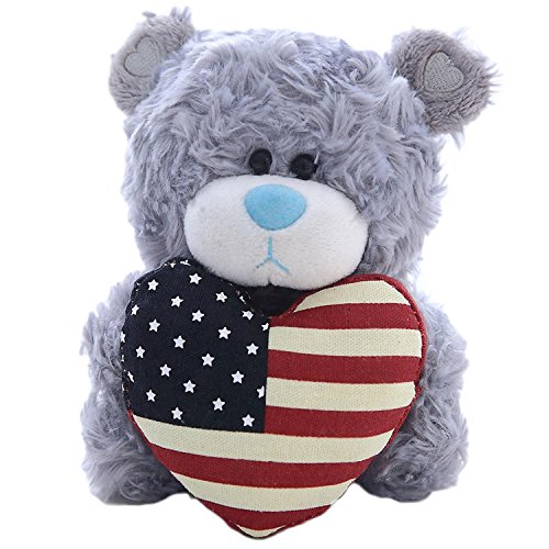 Plushland American Pillow Qbeba Bear, Plush Stuffed Animal Toy Holding a Heart Printed American National Flag on It, A perfect Way to Celebrate Independence day 4th July, For Kids (Gray)