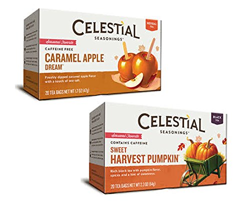 Celestial Seasonings Sweet Harvest Pumpkin Black Tea, 20-tea Bags, 2.3oz and Celestial Seasonings Caramel Apple Dream Tea, 20 Count Tea Bags -2 Boxes (40 Bags) Limited Edition Fall Flavors Bundle