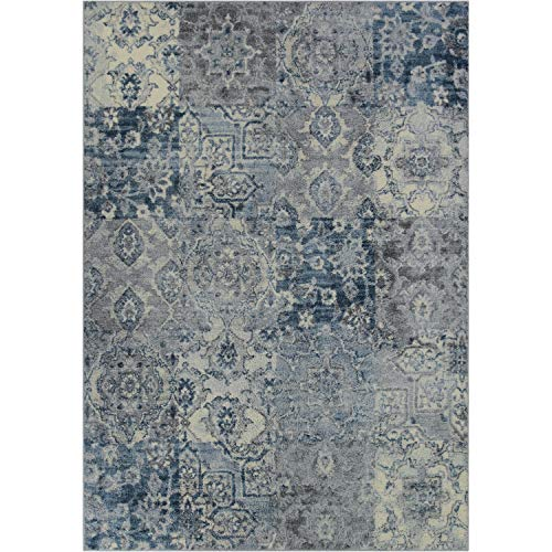 Better Homes and Gardens Distressed Patchwork Area Rug or Runner,5'x7',Navy