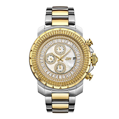 JBW Men's Titus 0.12 ctw J6347C Stainless Steel Gold Diamond Chronograph Watch with Day Time and 24 Hours Sub Dials ()