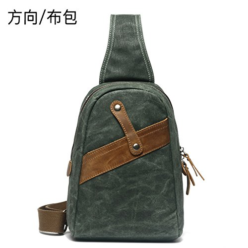 KEROUSIDEN Diagonal Shoulder Bag_Direction Men's Chest Bag Crazy Waterproof Zipper Bag Retro Shoulder Diagonal Package 19cm9cm25cm, Lake Green by KEROUSIDEN