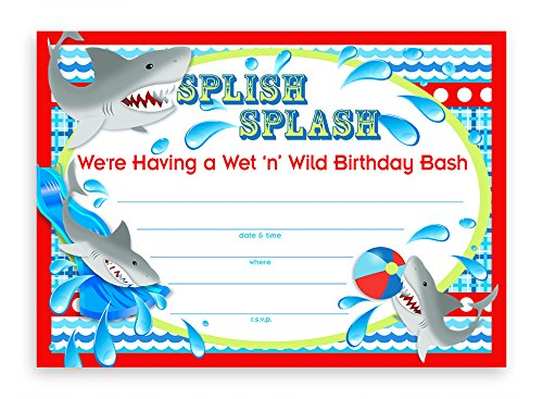 POP parties Shark Party Large Invitations - 20 Invitations 20 Envelopes