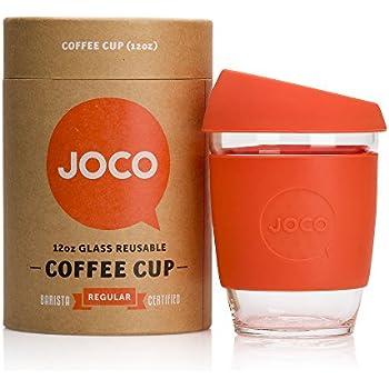 JOCO Glass Reusable 12oz Coffee Cup (Orange)