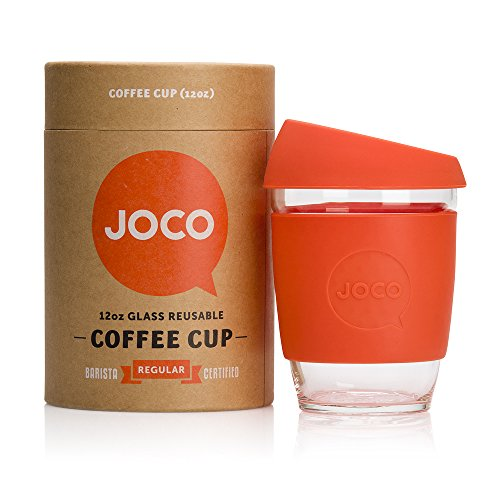 JOCO Glass Reusable 12oz Coffee Cup (Orange)