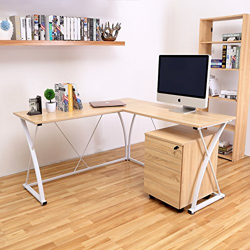 Decho Modern L-shaped Desk Corner Computer Desk PC Latop Study Table Workstation Home Office Wood&Metal(Oak) by DECHO DESIGN