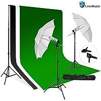 Limo10X10 Muslin Black White Green Chromakey Backdrop Support Kit 700W 33 White Photo Umbrella Light Kit