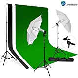 LimoStudio, LMS709, Photography 10'x10' Muslin Black White Green Chromakey Backdrop Support Kit 700W 33'' White Photo Umbrella Light Kit