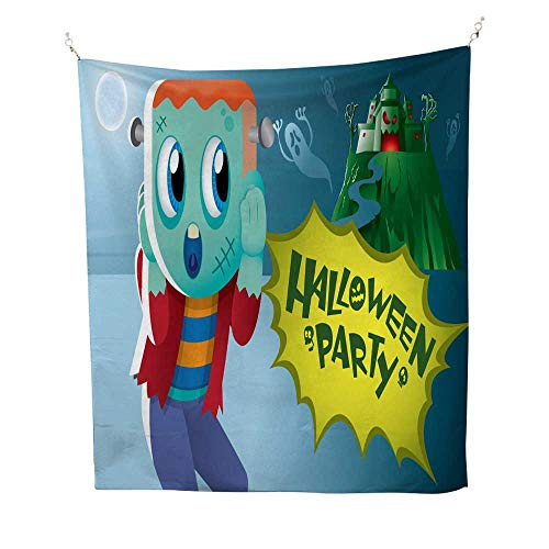 25 Home Decor Tapestries Wall hangings A Cute Frankenstein with a Haunted Castle 1 Tapestries Hippie 54W x 72L -