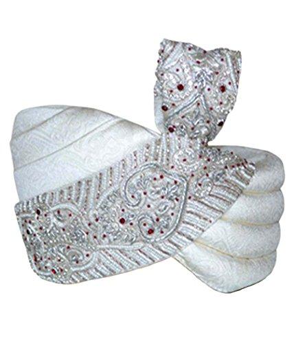 INMONARCH Mens Sober Designer Wedding Turban pagari Safa Hat For Groom TU2342 23-Inch Cream by INMONARCH