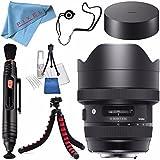 Sigma 12-24mm f/4 DG HSM Art Lens for Nikon F #205955 + Lens Pen Cleaner + Fibercloth + Lens Capkeeper + Deluxe Cleaning Kit + Flexible Tripod Bundle