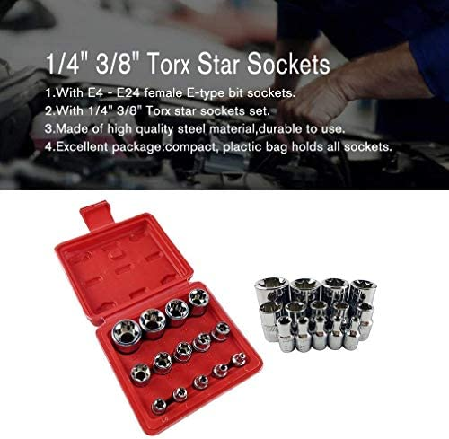 LANGPIAOEZU Durable 14Pcs/set Female E Type Bit Sockets Wrench Head E4 - E24 1/4