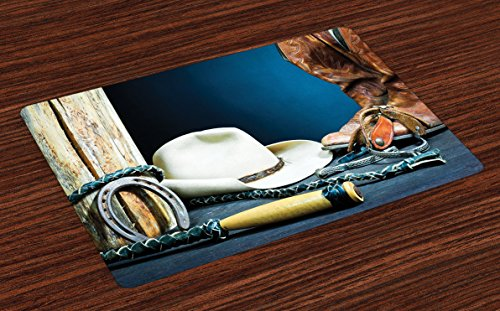 Ambesonne Western Place Mats Set of 4, Backdrop with Antique Horseshoe Hat Cowboy Texas Photography, Washable Fabric Placemats for Dining Table, Standard Size, Blue Brown